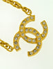 Chanel Vintage Gold Rhinestone CC Logo Necklace - Amarcord Vintage Fashion  - 3