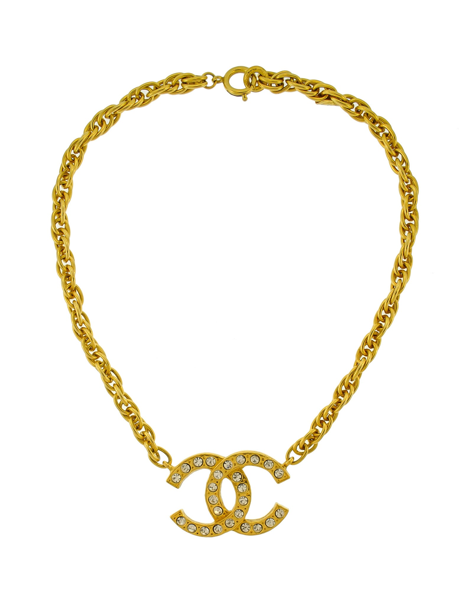 Chanel Vintage Gold Rhinestone CC Logo Necklace - Amarcord Vintage Fashion  - 1