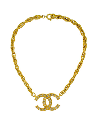 Chanel Vintage Gold Rhinestone CC Logo Necklace