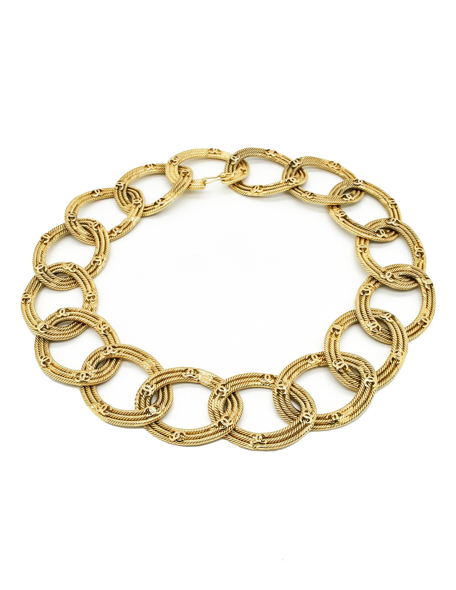 Chanel Vintage Gold CC Logo Chain Link Necklace - Amarcord Vintage Fashion  - 1