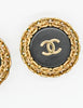Chanel Vintage Black/Gold CC Logo Chain Wrapped Earrings - Amarcord Vintage Fashion  - 4