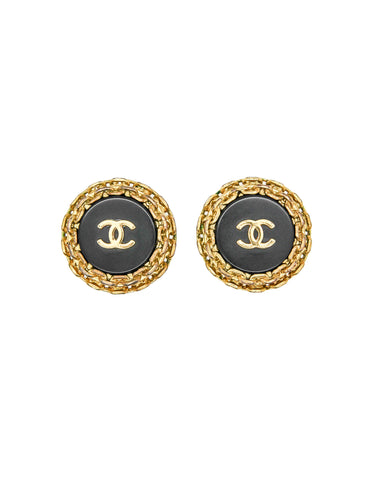 Chanel Vintage Black/Gold CC Logo Chain Wrapped Earrings