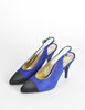 Chanel Vintage Blue Suede and Black Satin Heels - Amarcord Vintage Fashion  - 2