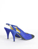 Chanel Vintage Blue Suede and Black Satin Heels - Amarcord Vintage Fashion  - 5