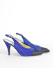 Chanel Vintage Blue Suede and Black Satin Heels - Amarcord Vintage Fashion  - 4