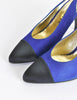 Chanel Vintage Blue Suede and Black Satin Heels - Amarcord Vintage Fashion  - 6
