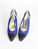 Chanel Vintage Blue Suede and Black Satin Heels - Amarcord Vintage Fashion  - 3