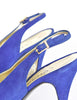 Chanel Vintage Blue Suede and Black Satin Heels - Amarcord Vintage Fashion  - 7