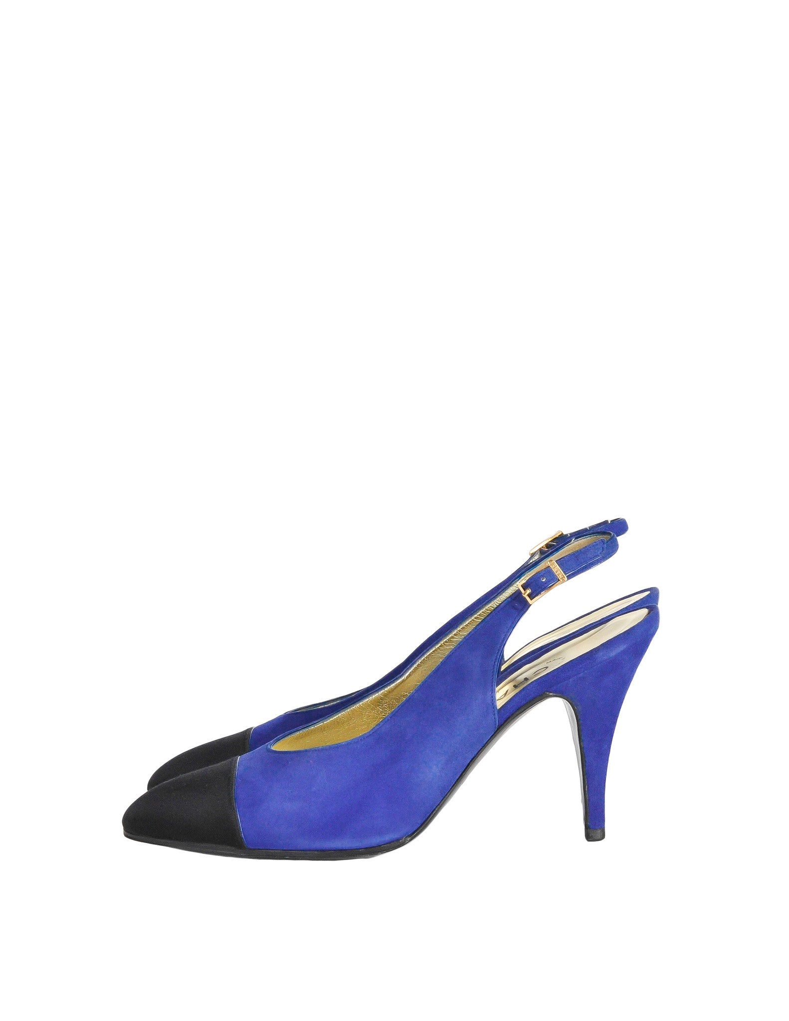 Chanel Vintage Blue Suede and Black Satin Heels - Amarcord Vintage Fashion  - 1