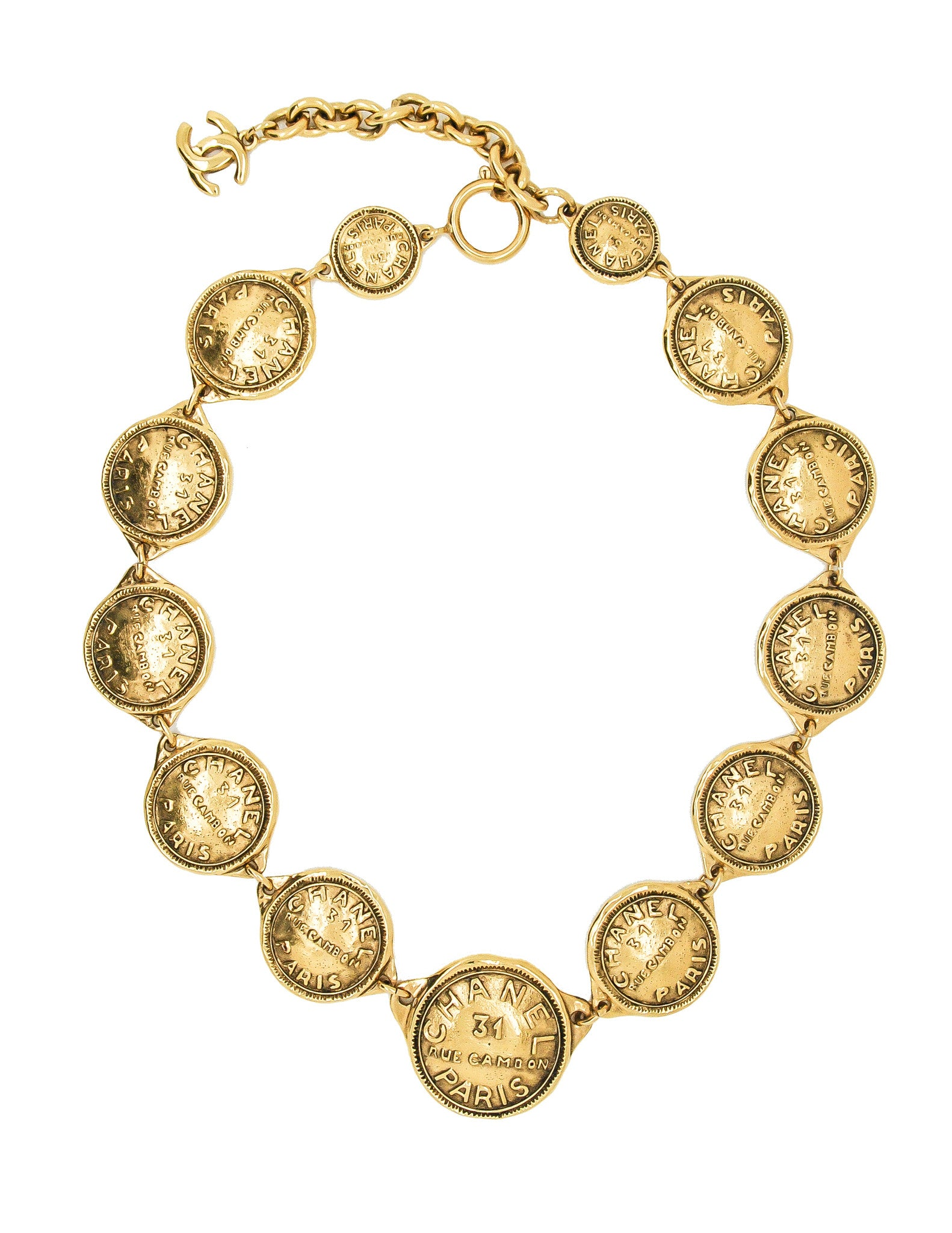 Chanel Vintage Gold 31 Rue Cambon Coin Medallion Necklace - Amarcord Vintage Fashion  - 1