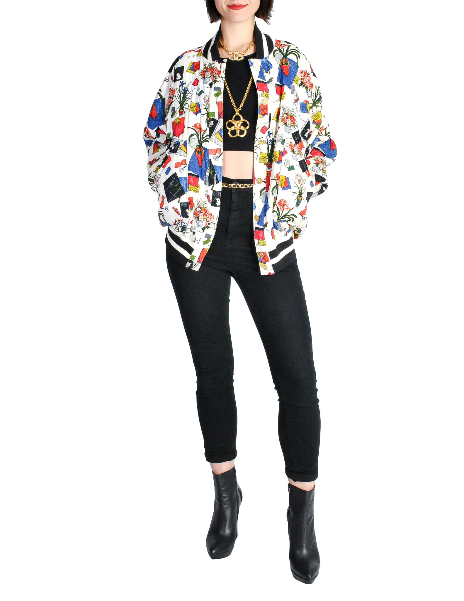 Chanel Vintage Novelty Print Quilted Bomber Jacket - Amarcord Vintage Fashion  - 1