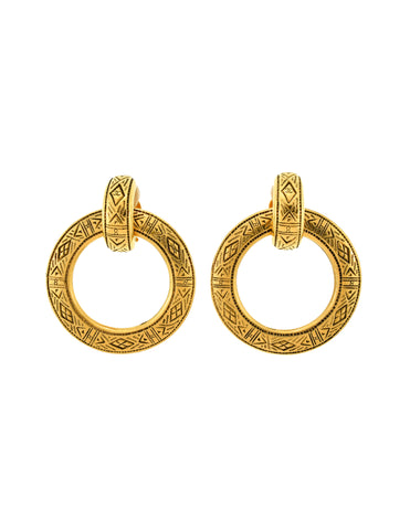 Chanel Vintage Etched Gold Two Piece Hoop Earrings