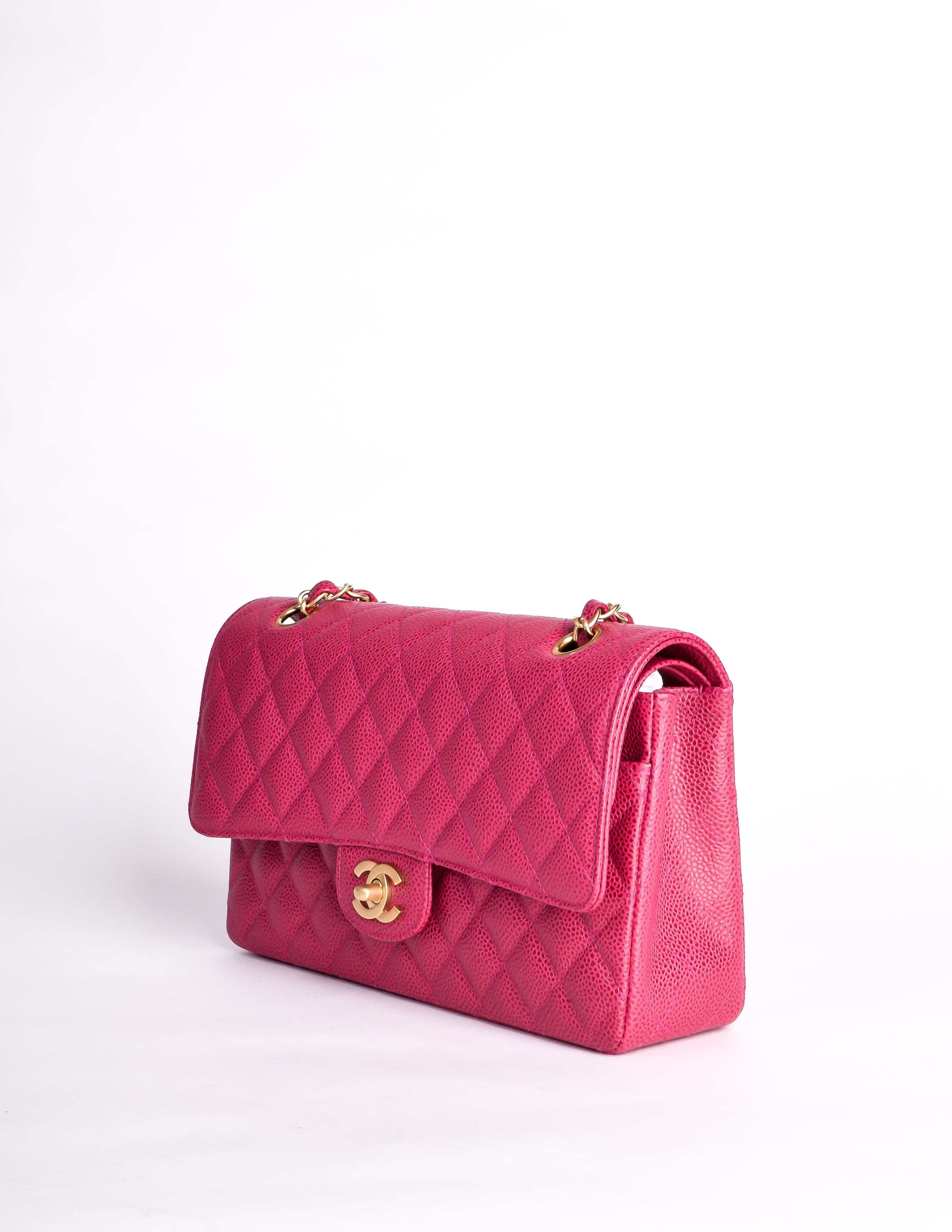 3503713a49e0 Chanel Vintage Fuchsia Pink Quilted Caviar 2.55 Medium Classic Double Flap  Bag