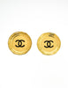 Chanel Vintage Large Gold CC Logo Plate Earrings - Amarcord Vintage Fashion  - 3