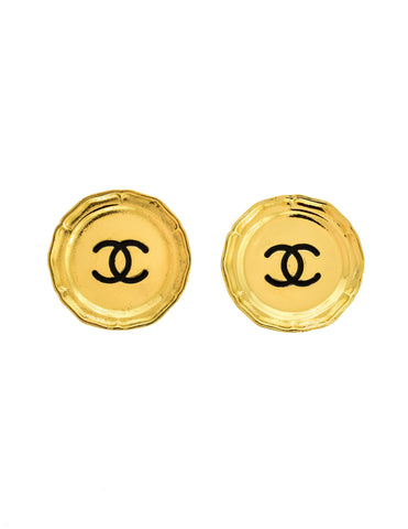 Chanel Vintage Large Gold CC Logo Plate Earrings