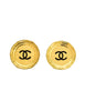 Chanel Vintage Large Gold CC Logo Plate Earrings - Amarcord Vintage Fashion  - 1