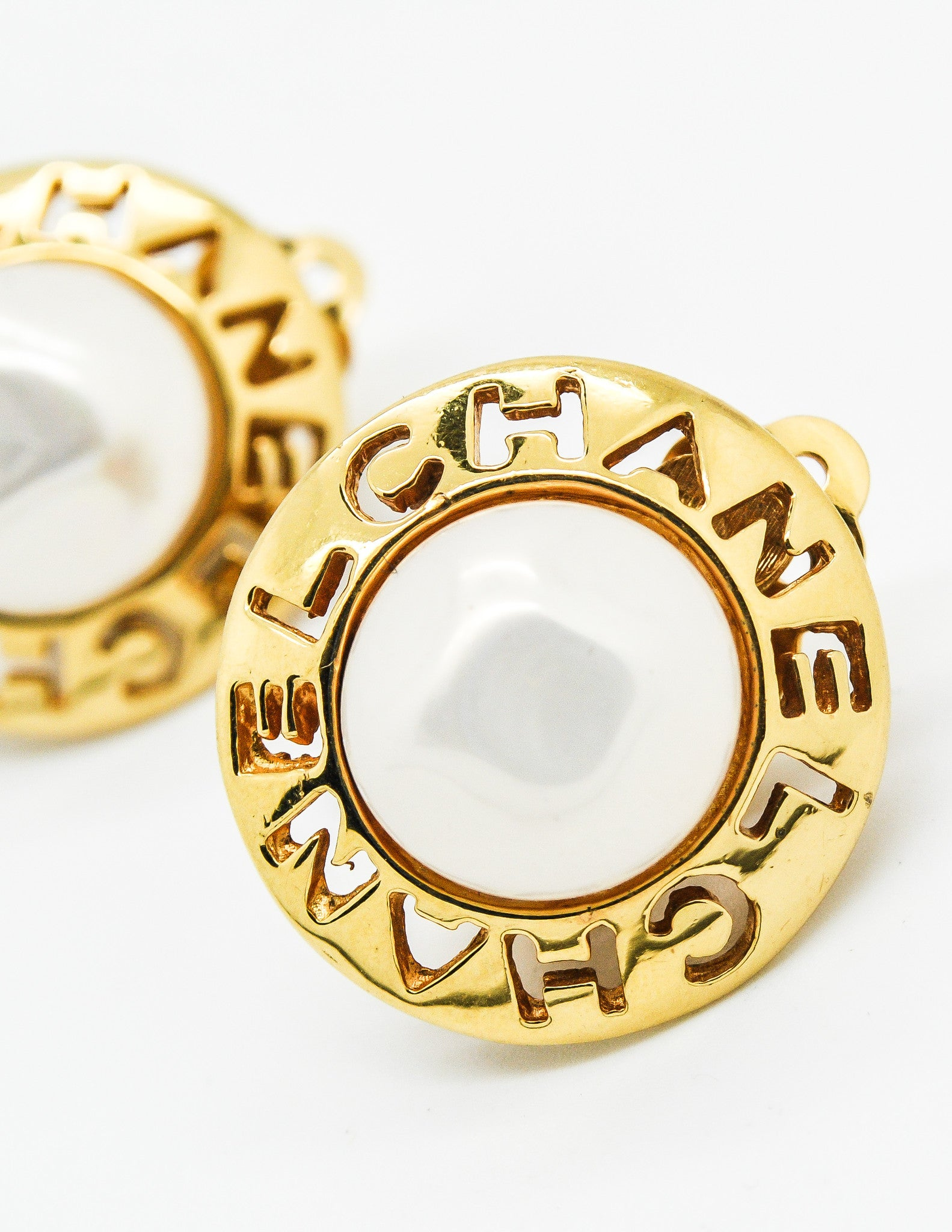 Chanel Vintage Cut Out Pearl Earrings  Amarcord Vintage Fashion  3