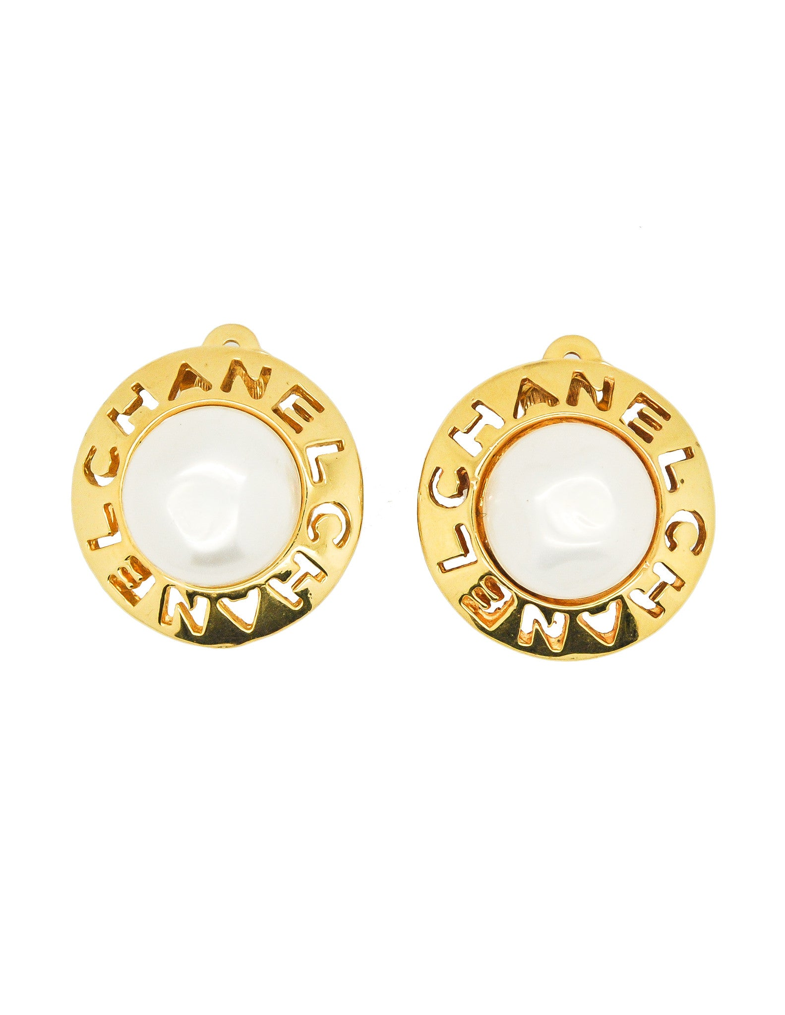 Chanel Vintage Cut Out Pearl Earrings - Amarcord Vintage Fashion  - 1