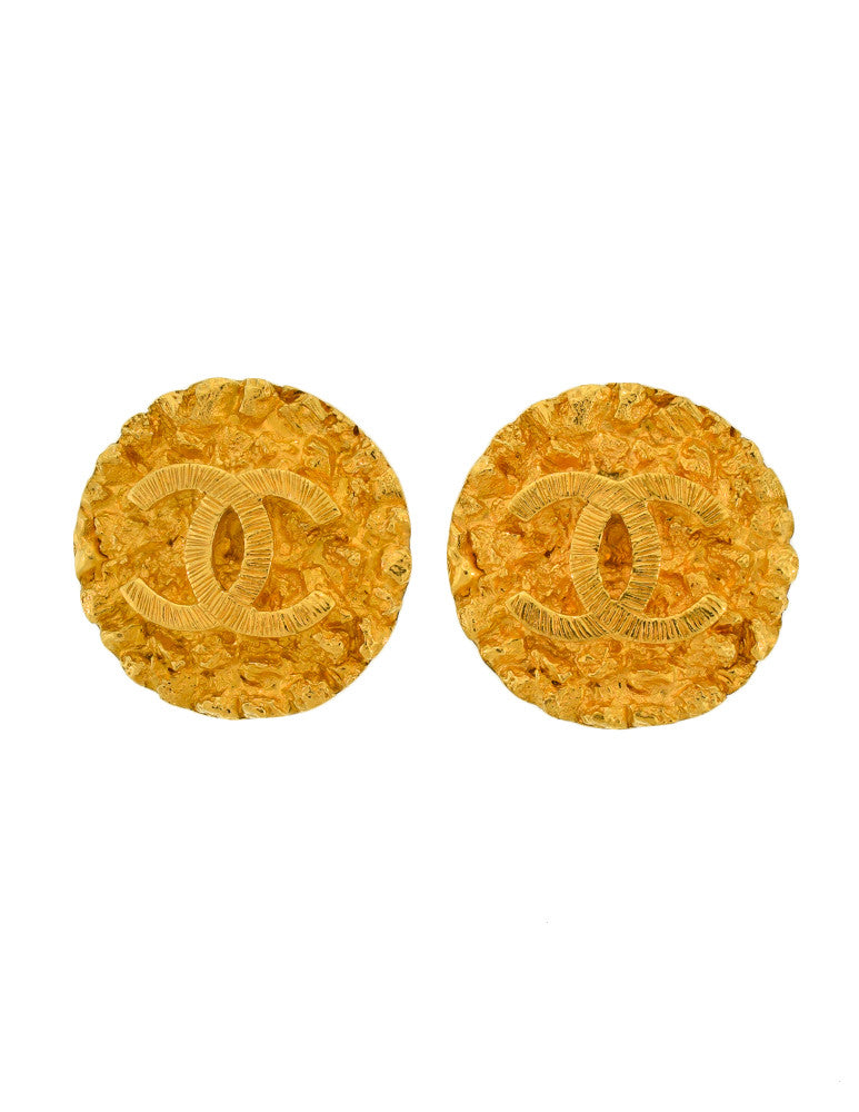 Chanel Vintage Gold CC Logo Round Nugget Earrings - Amarcord Vintage Fashion  - 1