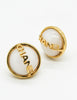 Chanel Vintage Signature White Glass Earrings - Amarcord Vintage Fashion  - 2