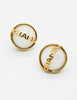 Chanel Vintage Signature White Glass Earrings - Amarcord Vintage Fashion  - 3