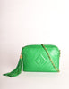 Chanel Vintage Kelly Green Lambskin CC Logo Tassel Shoulder Camera Bag - Amarcord Vintage Fashion  - 2