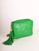 Chanel Vintage Kelly Green Lambskin CC Logo Tassel Shoulder Camera Bag - Amarcord Vintage Fashion  - 6