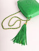 Chanel Vintage Kelly Green Lambskin CC Logo Tassel Shoulder Camera Bag - Amarcord Vintage Fashion  - 7