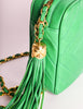 Chanel Vintage Kelly Green Lambskin CC Logo Tassel Shoulder Camera Bag - Amarcord Vintage Fashion  - 8