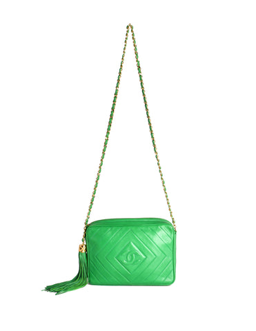 Chanel Vintage Kelly Green Lambskin CC Logo Tassel Shoulder Camera Bag