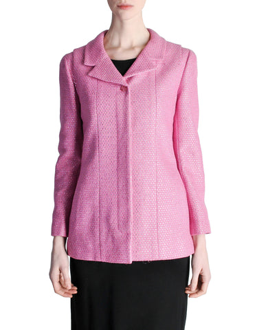 Chanel Vintage Hot Pink Wool & Silk Metallic Blazer
