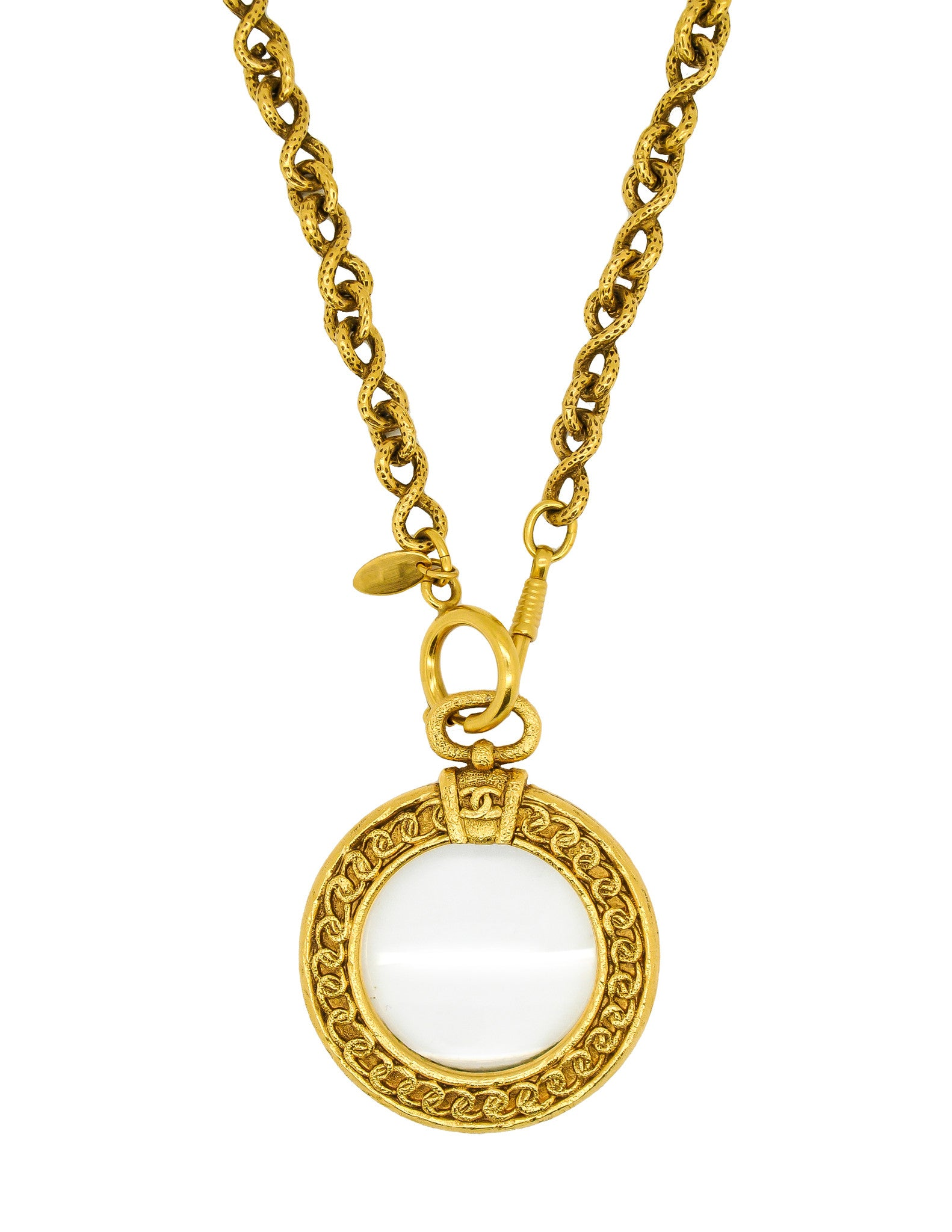 Chanel Vintage Gold Magnifying Glass Loupe Necklace - Amarcord Vintage Fashion  - 1