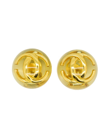 Chanel Vintage Golden CC Lucite Bauble Earrings