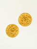 Chanel Vintage Matte Gold CC Logo Earrings