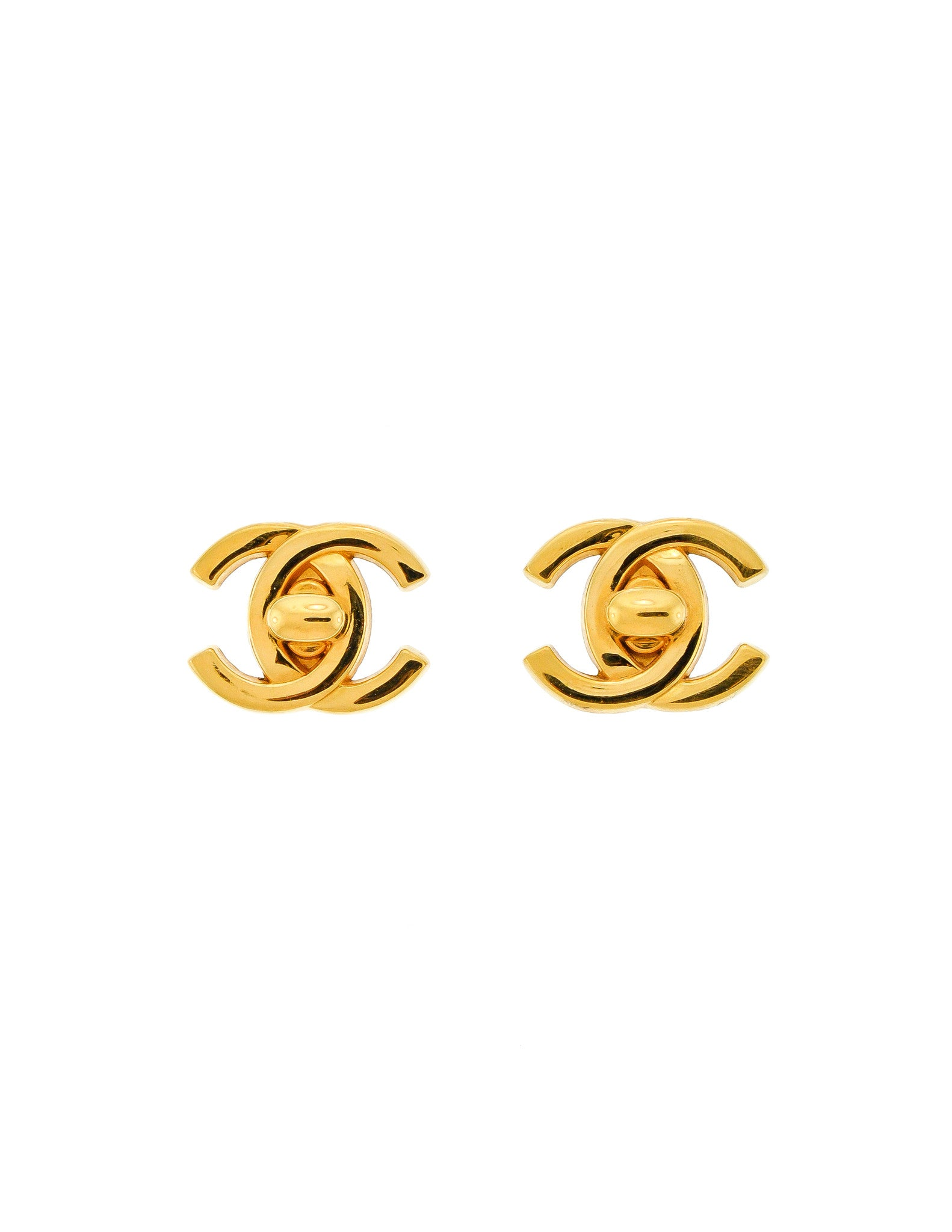 Chanel Vintage Mini Turn Lock CC Clasp Earrings - Amarcord Vintage Fashion  - 1