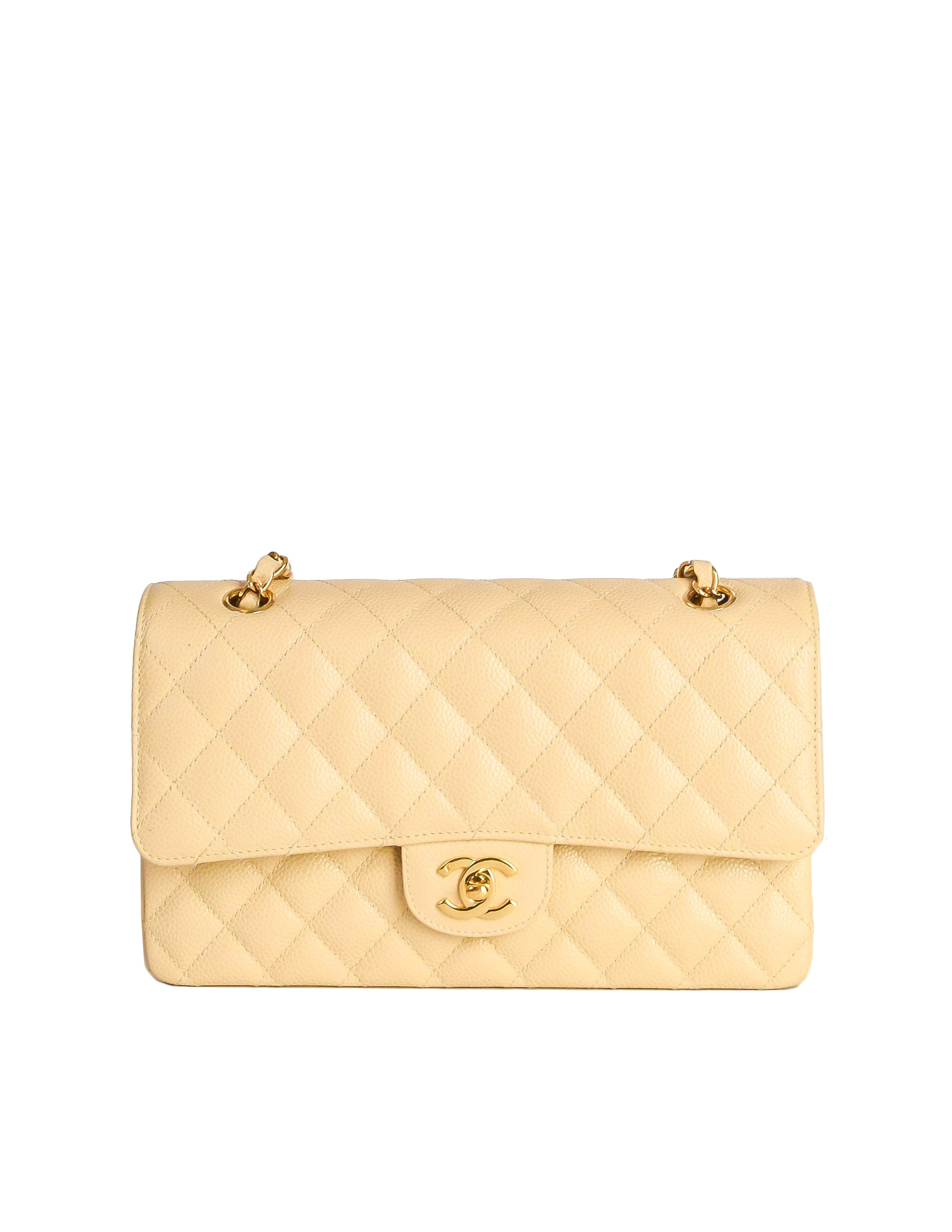 Chanel Vintage Cream Caviar Quilted 2.55 Medium Classic Double Flap ... 50316ea75efe8