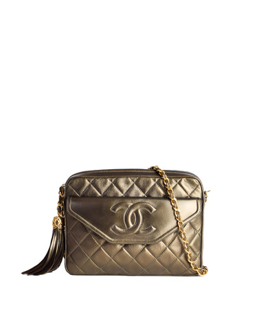 b1b0693615c05f Chanel Vintage Green Metallic Lambskin Quilted Tassel Bag