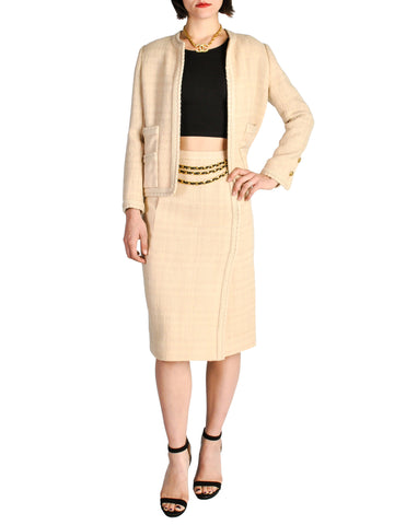 Chanel Vintage Pale Tan Wool Two-Piece Suit