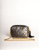 Chanel Vintage Grey Silver Metallic Lambskin Quilted Tassel Bag