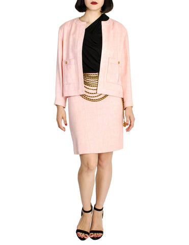Chanel Vintage Pink Nubby Tweed Two-Piece Suit