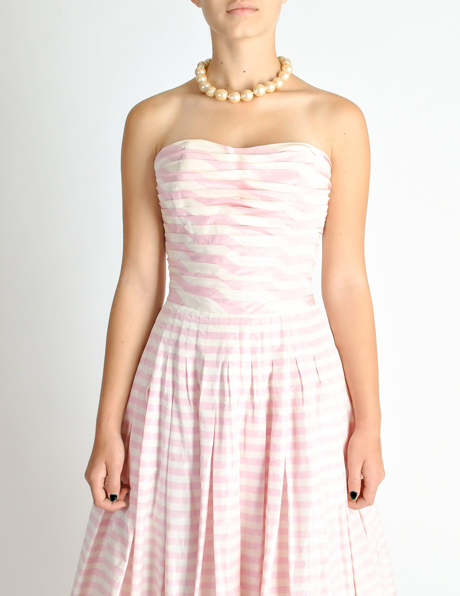 Chanel Vintage Pink Amp White Striped Raw Silk Gown Dress
