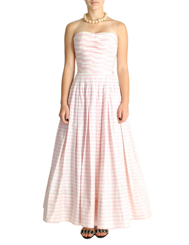 Chanel Vintage Pink & White Striped Raw Silk Gown Dress