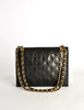 Chanel Vintage Black Lambskin Leather Quilted CC Logo Bag - Amarcord Vintage Fashion  - 4
