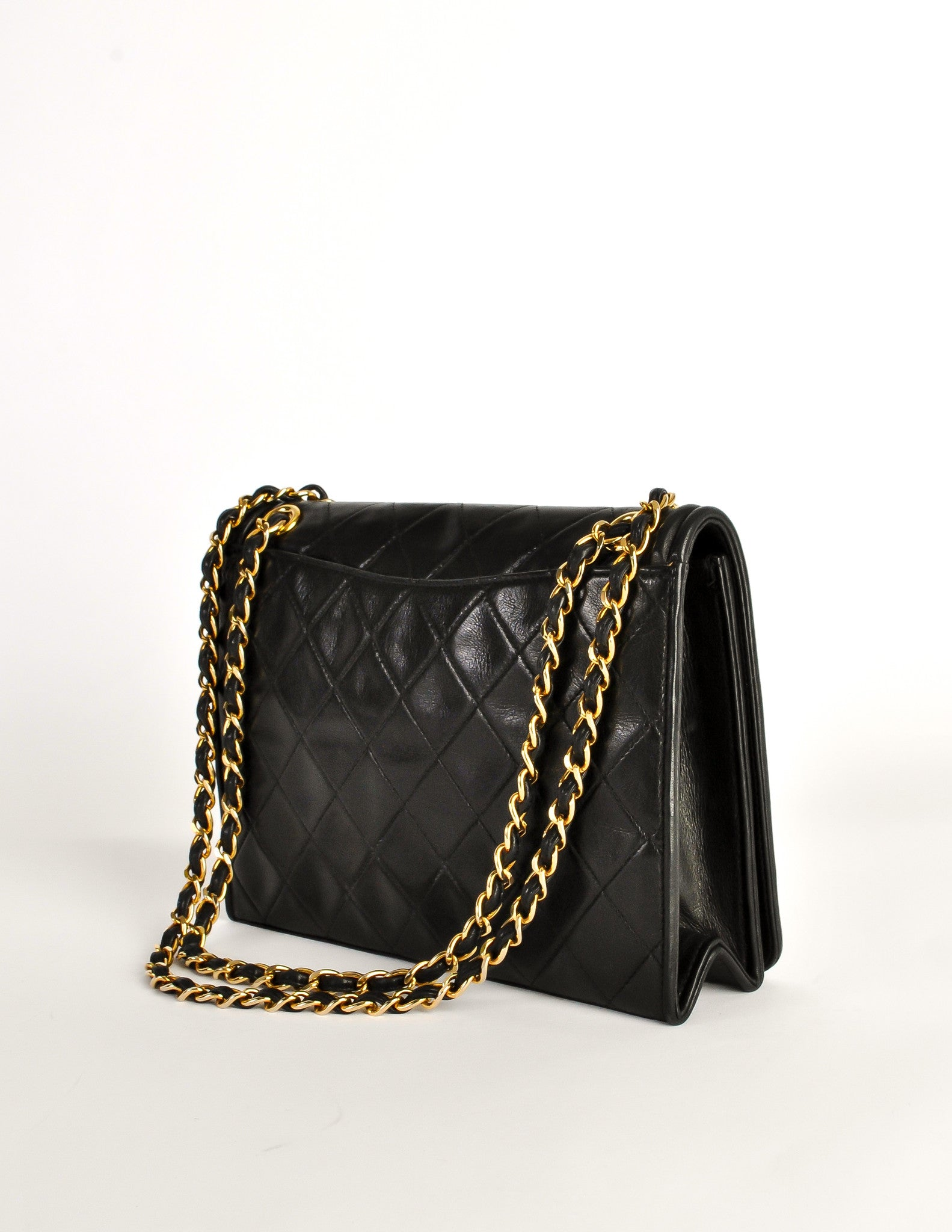 5d11c33f6cecd7 Chanel Vintage Black Lambskin Leather Quilted CC Logo Bag - Amarcord Vintage  Fashion - 5