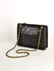 Chanel Vintage Black Lambskin Leather Quilted CC Logo Bag - Amarcord Vintage Fashion  - 6