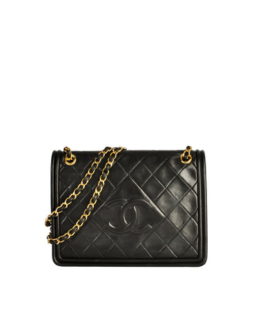 Chanel Vintage Black Lambskin Leather Quilted CC Logo Bag