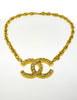 Chanel Vintage Gold Rhinestone CC Logo Necklace - Amarcord Vintage Fashion  - 5