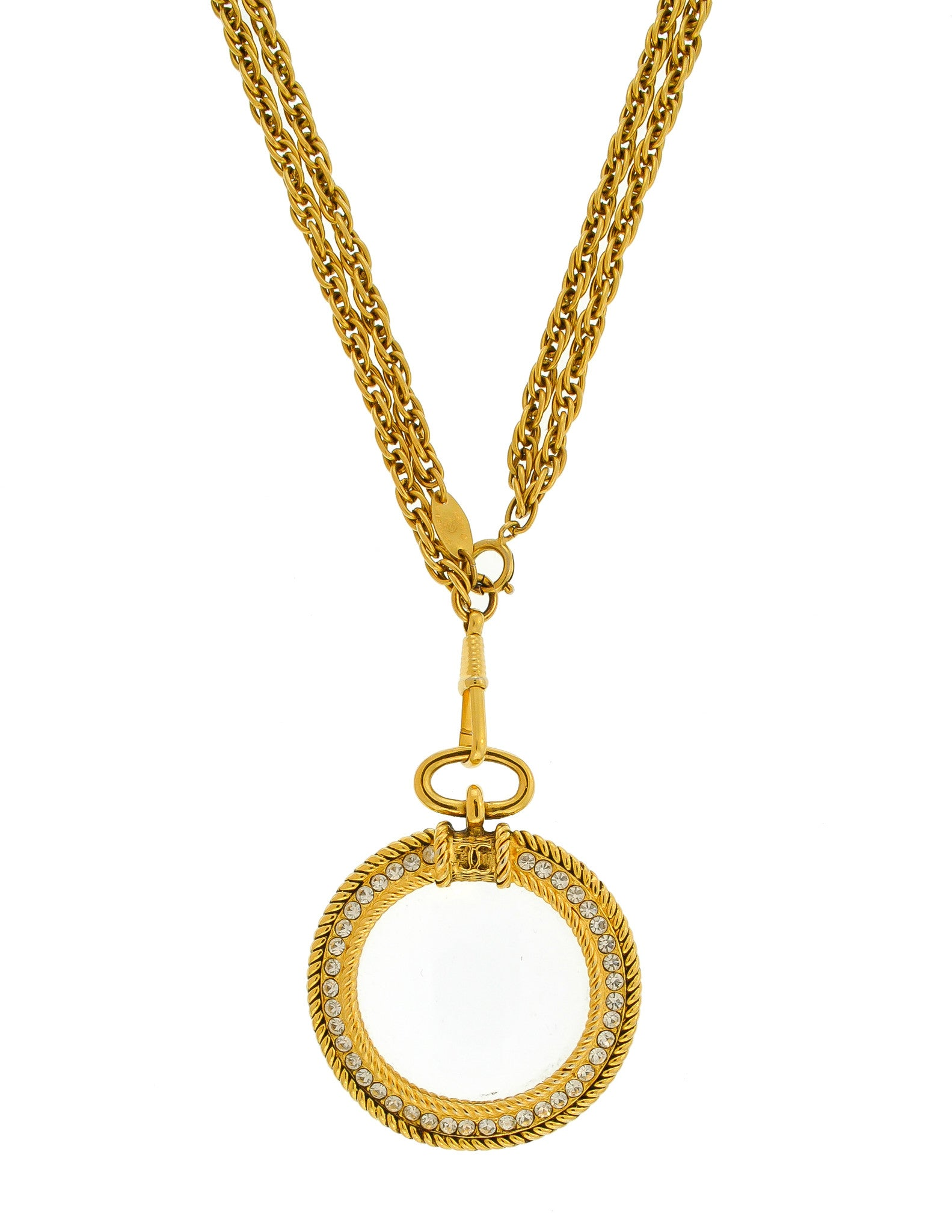 Chanel Vintage Gold Rhinestone Magnifying Glass Loupe Necklace - Amarcord Vintage Fashion  - 1
