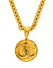 Chanel Vintage Gold CC Logo Pendant Necklace - Amarcord Vintage Fashion  - 2