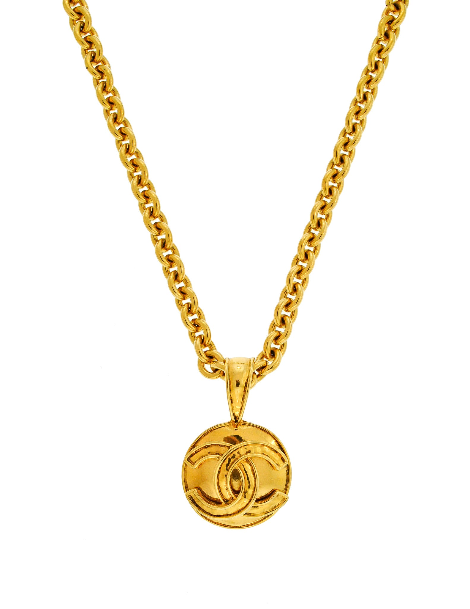 5bd4b2ebfeb0f0 Chanel Vintage Gold CC Logo Pendant Necklace - Amarcord Vintage Fashion - 1